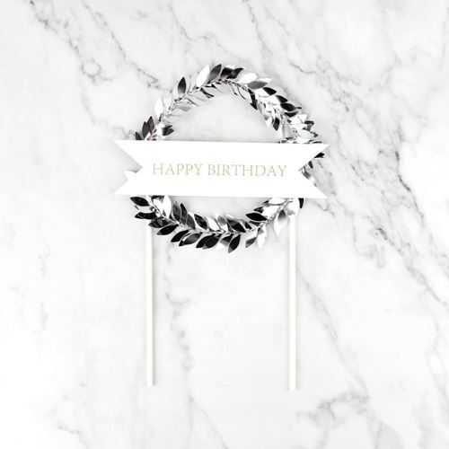 Picture of Happy Birthday Wreath Topper Silver
