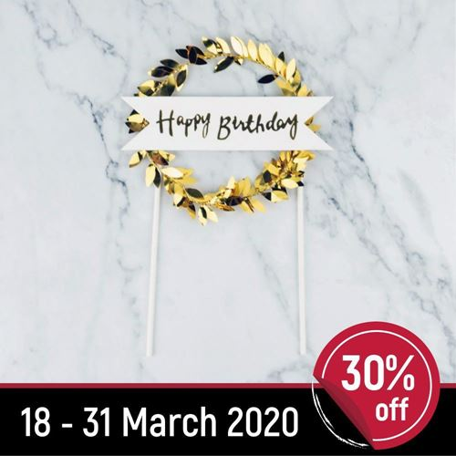 Picture of Happy Birthday Wreath Topper Gold