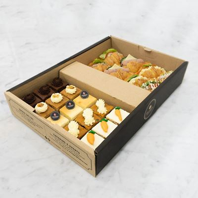 Picture of Mini Cakes Croissant Sandwiches Catering Box